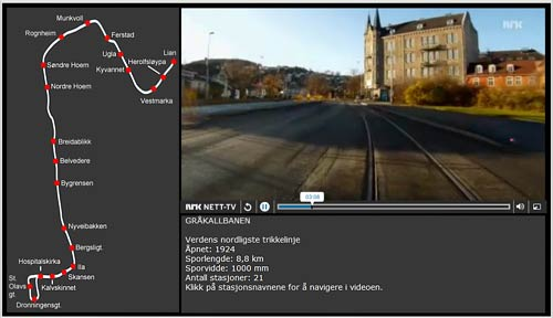 GRÅKALLBANEN | TRONDHEIM | NORWEGEN STRAßENBAHN | NORWAY CITY TRAM | TRIKK | Screenshot: NRK Web-TV